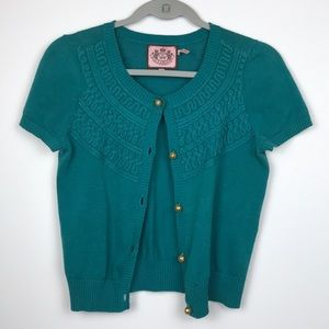 Juicy Couture Embroidered Teal Green Cardigan   S